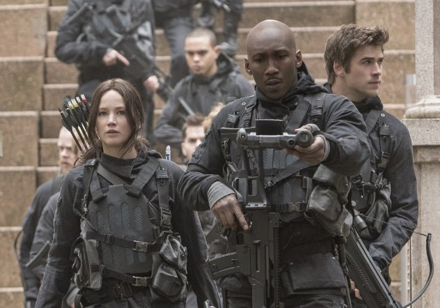 Jennifer Lawrence, Mahershala Ali and Liam Hemsworth in 'The Hunger Games Mockingjay - Pt 2'