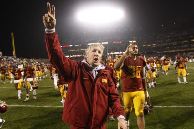 Pete Carroll and the USC Trojans leave the field after another display of dominance