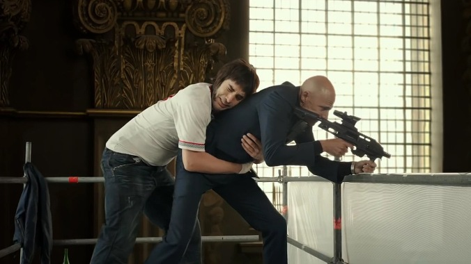 Sacha Baron Cohen and Mark Strong in 'The Brothers Grimsby'