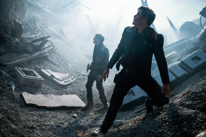 Anton Yelchin and Chris Pine in 'Star Trek - Beyond'